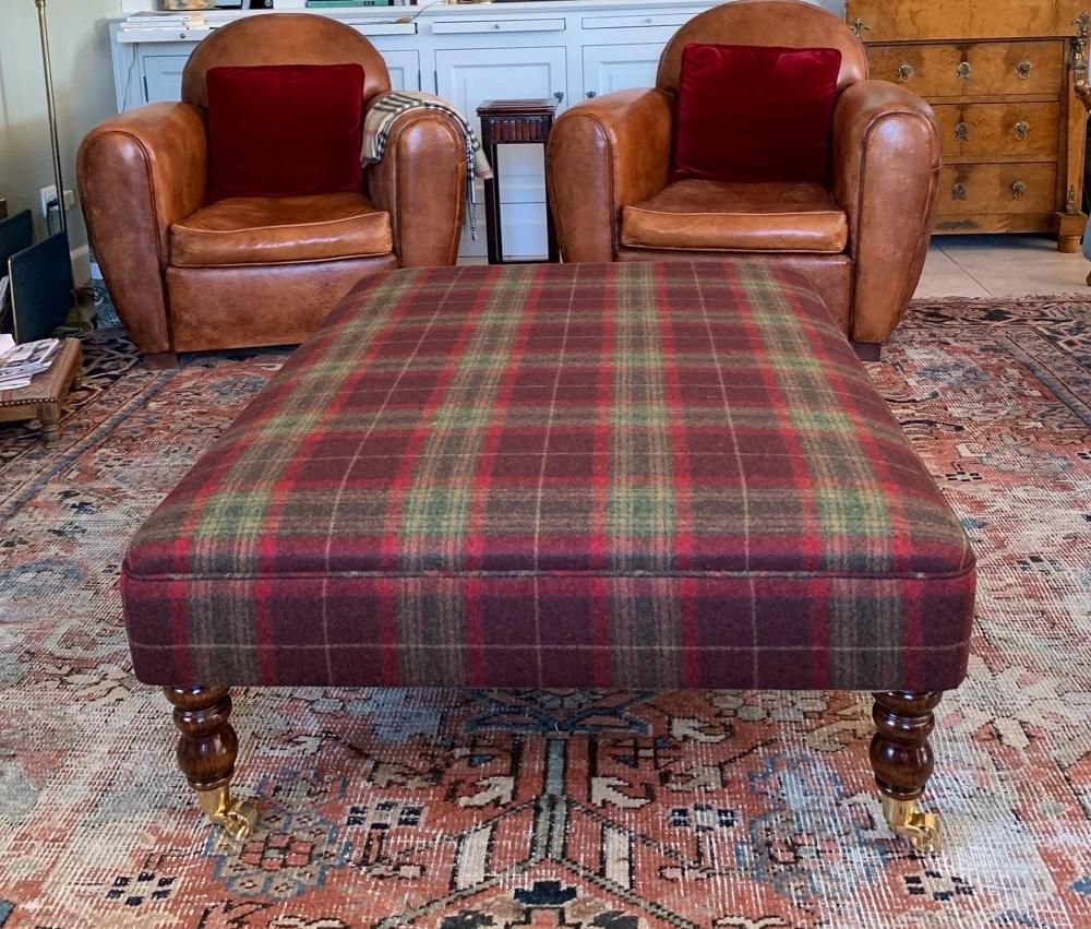Tartan wool footstool