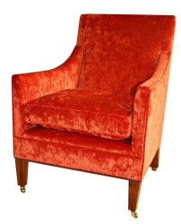 Orange Velvet Handmade Edwardian Style Arm Chair