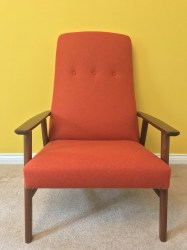 Danish Teak Arm Chair Orange wool