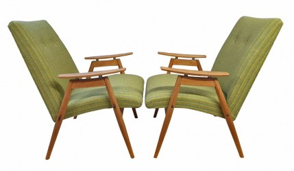 Pair floating arm mid century chairs