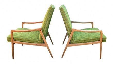Pair of mid century beech arm chairs